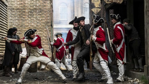 "Samuel Adams (Ben Barnes) fights off Red Coats in the History Channel's miniseries ""Sons of Liberty."""
